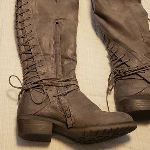 Volatile taupe knee high boots